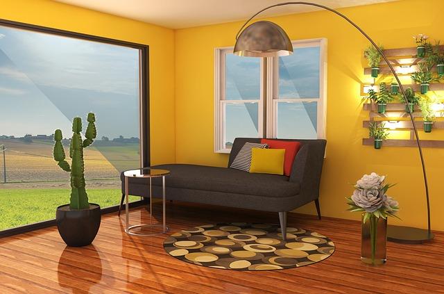 mur salon avec plantes vertes